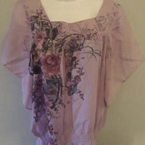 Lavender floral top, flutter sleeves